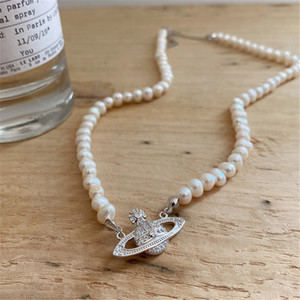 RUIYI Real 925 Sterling Silver Women Luxury Wedding Jewelry Natural Freshwater Pearl Chokers Exquisite Planet Pendant Necklace 1020