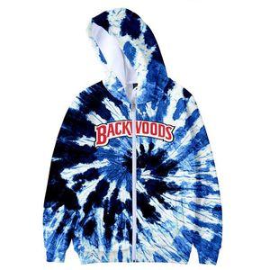 Backwoods teñido anudado de la impresión 3D de gran tamaño postal hasta Mujer / Hombre sudaderas con capucha urbana de Hip Hop de manga larga con capucha de la cremallera de la chaqueta