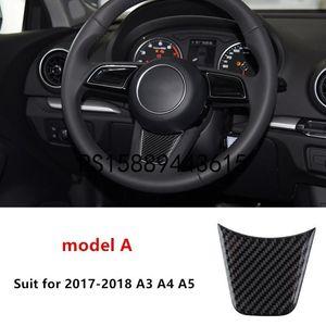 DIY Carbon Fiber Steering Wheel Decal Decoration Cover Trim For Audi A1 A3 A4 A5 A6 A7 Q3 Q5 Car Styling Interior Accessories