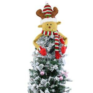 Gran árbol de Navidad Topper Decoración Santa Snowman Reindeer Hugger Navidad Holiday Invierno Fiesta Ornamento Suministros EWE1257