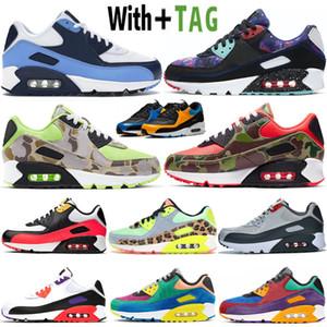 2021 Top Quality 90 OG UNC Bred Hommes Chaussures de course Designer Camo Rouge Orange Vert Viotech Volt classique 90s sport Baskets Sneakers 36-45