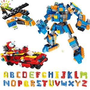 Huiqibao 895pcs İngilizce Harfler Robot Yapı Taşları İl Creator Araç Helikopter Tuğlalar Seti İnşaat Çocuk Toys qylwdx mywjqq