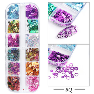 12 Grids Round Circle Sequins For Nail 3D Holographic Mirror Mix Glitter Flake Rainbow Bubble Nail Art Accessories Manicure CHBQ