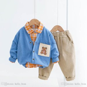2021 Spring casual baby boys suits boys clothing sets 3pcs set cardiga+shirt+trousers baby boys clothes kids outfits retail B3610