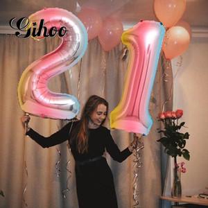 2pcs 30 inch gradient digital aluminum foil helium balloon21 26 30 years old digital balloon adult birthday party decoration