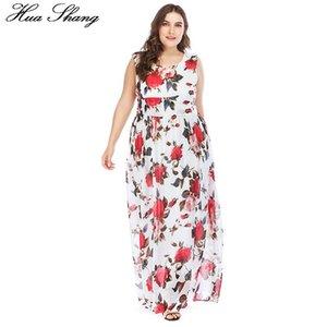 Huashang Kadınlar Boho Sundress Büyük Beden Beyaz Çiçek Tankı yazdır O-boyun Bel Kravatlar Zarif Uzun Bohemian Plaj şifon Maxi Elbise
