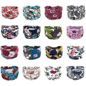 Bohe Style Women Wide Headband Cotton Stretch Print Hair Bands For Women Sports Yoga Knotted Headwrap Turban Bandage jllrHi