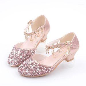 الأحذية المسطحة الفتيات الأطفال الصنادل الجلدية الترتر الاطفال الأميرة حزب 26-38 اللباس عالية الكعب 1