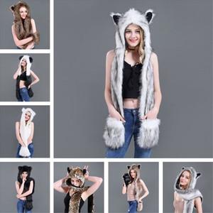 3 Em 1 Mulheres Homens Fluffy Plush Lobo animal do leopardo capa chapéu do lenço com luvas patas Luvas Thicken inverno quente Earflap Bomber Cap Y191112