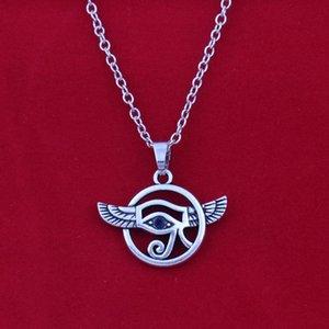 Gioielli Tendenze d'argento antico occhio alato di Horus ciondolo con strass blu collane bracciali grano