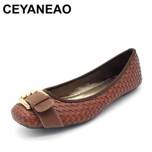 CEYANEAO Spring and Autumn Women's Loafers Flats Buckle Knitted Women Flat Heel Shoes Boat Shoes Soft bottom Casual Shoe 201012