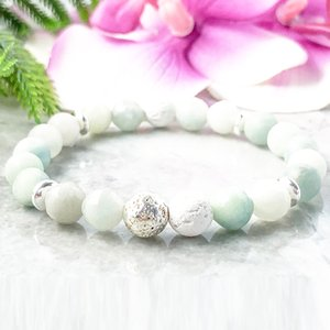 MG1089 Faced Amazonite Lava Bracelet Trendy Healing Crystals Stress Relief Gemstone Bracelet High Quality Yoga Mala Wrist Balance Bracelet