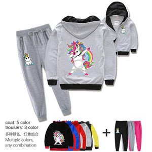 Unicorn spring and autumn popular cartoon children's wear boys and girls set zipper jacket cardigan + trousers 2-piece set With childre