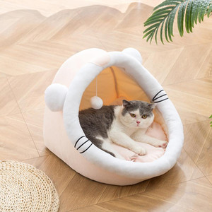 Lovely Cat House with Cat Bed and Hanging Ball Cartoon Shape Puppy Dog Bed Soft Cage Products for Pet