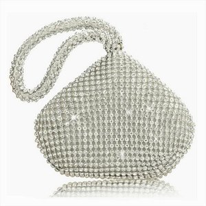 Women Ladies Handbags Silver pouch Crystal Diamante Ladies Party Evening Wedding Clutch Hand Bag Puese BY