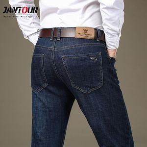 Jantour Autumn Winter Jeans For Men 2020 Pantalones De Hombre Business Casual Dark Blue Jeans Thicken Straight Size 28-38