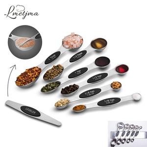 Lettjma 7pcs / set ملاعق قياس المغناطيسي مع المستوي الفولاذ المقاوم للصدأ ملاعق قياس الوجهين للطبخ الخبز 201203