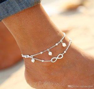 Braccialetto di caviglia Fine Jewelry sandali a piedi nudi perline Tre catena Leg Chaine Pulseras Tobilleras On cavigliere piedi per le donne #Y
