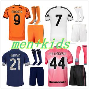 Kit Adulto 20 21men + Niño Soccer Jersey Set de Ligt Camisa de Futebol Shorts Socks Bonucci Chiellini Camiseta de Fútbol