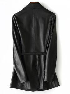 Nerazzurri Black Faux Cuir Blazer Femmes Courroie à manches longues PLUS Taille Cuir Veste Femmes 5XL Nouveautés Vêtements pour femmes 201124