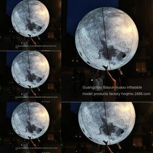 6bsmT منتصف الخريف مهرجان liftglowing مضيئة النشاط التضخم نفخ PVC القمر القماش نموذج قابل للنفخ القمر الدعاية الهواء شبكة والديكور