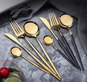 Specchio in acciaio inox per tavola in acciaio inox Gold coltello pasto cucchiaio forcella forchetta cucchiaino flatware semplice squisita cena occidentale posate HHA690 BBYCFYD