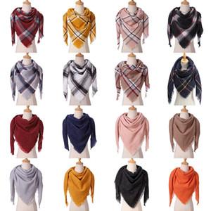16 цветов Мода Женщина плед шарфы Сетка кисточка Шаль Зима шейный Lattice треугольник Одеяло шарф CYZ2852