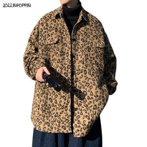 Streetwear Leopard Pattern Men Casual Woolen Chaqueta de lana Girar el cuello suelto Fit Primavera Otoño Bolsillos de los pechos