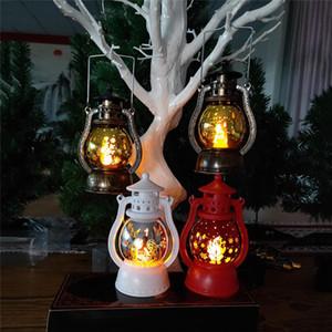LED Lantern Christmas Lamp Vintage Retro Holiday Hanging Candlelight Merry Christmas New Year Portable LED Lights OWA1935