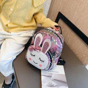 New 3D Girl school bags small cute little rabbit bag Shoulder sequins laser sparkle children backpack girl backpack female