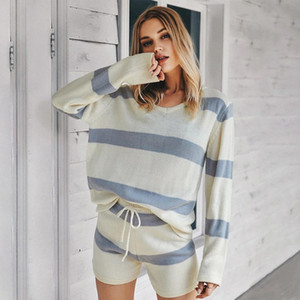 Knitted Two Piece Outfits for Women Tops and Shorts 2021 Fashion Female Loose Spring Autumn Striped Matching Set Lounge Wear #9p9W