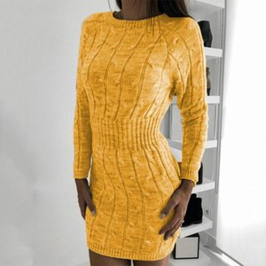 Women Long Sleeve Sweater Dresses New Autumn Winter Loose Tunic Casual Solid Knitted Sweater Dress F71