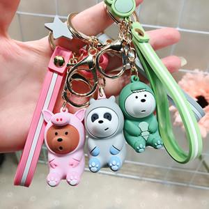 Cartoon Anime Bears Cute Three Animal Bears Doll Key Chain Backpack Is Hanged Adorn Keychains Cartoon Girl's Favorite Key Ring