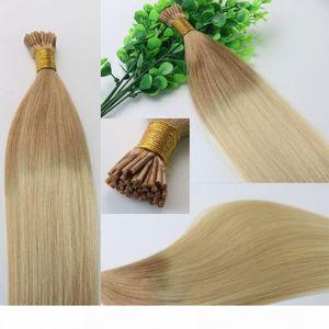 İki Ton Dip Boya Ombre Saç 100Strands 100g seti ı Çubuk ucu saç Ön bağlanmış Brezilyalı Remy İnsan Saç Uzatma