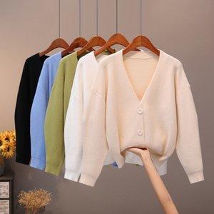 BygoUby Solid Knit Cardigans suéter mujeres V Cuello suelto jaleo suéter con bolsillo otoño invierno espesar abierto cardigan chaqueta abrigo 201127