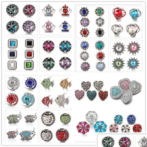 Mixed Styles Noosa Chunks Snap Jewelry Heart Moon Metal Snap Buttons Fit 18Mm Snap Button Bracelet Necklace For Women Men Wr1O1