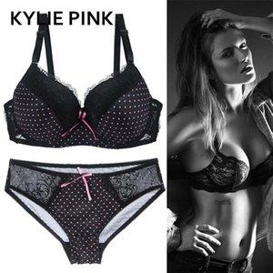 Kylie Pink Plus Size Bra Panties Suits 속옷 세트 여성 섹시한 레이스 통기성 얇은 3/4 컵 란제리 키트 브래지어 브래지어 LJ201211