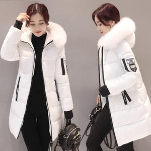 STAINLIZARD Winterjacke Frauen warme beiläufige mit Kapuze lange Parkas Frauen Mantel Street Baumwolle weiß weibliche Jacke outwear neue 201110
