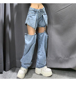 High street Jeans Women Splice Wide Leg Trousers Hip-hop cotton Loose Retro Chain Removable Cool Girls Womens Denim pants New 201014