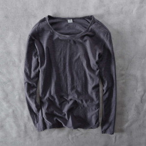 302 autumn and winter new versatile casual round neck solid color long sleeve bottomed t-shirt men's wear