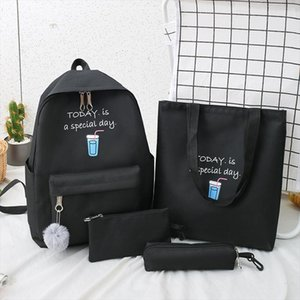 2020 4Pcs set Canvas School Bag For Teenager Girls Fashion New College Travel School Laptop Backpacks Women Book Bags Student