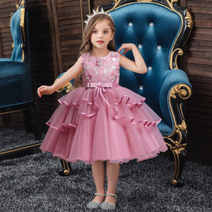 Princess Dress Flower Prom Gown Girl Kids Christmas Show Costume Tulle Flower Pageant Birthday Party Wedding Bridesmaid for 2-10 Years Old
