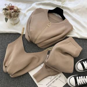 Mode Frauen Anzug 2020 Herbst neue süßes Temperament Kette Strickweste beiläufige Jacke + dreiteilige elastisch pantsA1111