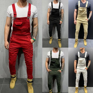 UK Mens Fashion Denim Dungaree Bib Overalls Jumpsuits Moto Biker Jeans Pants Trousers 2020 New