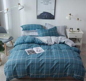 100%Cotton Bedding Set (Sheet Pillowcase Duvet Cover) Line Plaid Printed Bedlinens Single Double Queen Full King sizeGQ