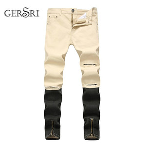Gersri Straight Jeans Men Fashion Denim Pants Patchwork Streetwear Mens Ripped Zipper Jeans Plus Size Male Hole Trousers Cotton