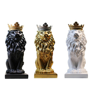 Crown Lion Resin Statues Ornament Home Decoration Crafts Mascot Modern Office Desktop Figurines Sculptures Art Nordic