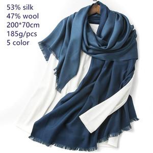 Naizaiga 53% Seda 47% Lana Mezcla Mujeres Shinning Shawl Flowen Warm Winter Bufanda, JY107