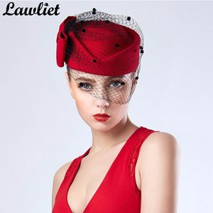 NEW Womens Fascinator Hats Red Bowknot Veil Wool Pillbox Hats Beret Hats for Women Formal Dress Cocktail Race Wedding Hat Fedora 201026