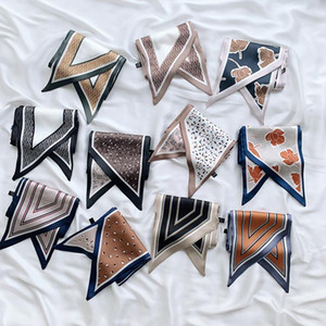 New Style for Autumn Winter Variety of Printed Ribbon Scarf Double-Sided Decorative Silk Scarf Neckerchief Women skinny